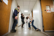 Students take a break from studying to dance in the halls of the E.V. Moore Building.