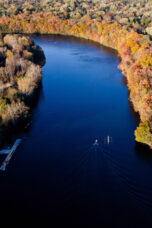 Rowing teams practice on the Huron River.